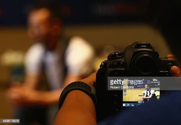 Hidetoshi Nakata speaks to the media during a press conference in the lead up to the the Global Legends Series at the Swissotel on December 3 2014 in...