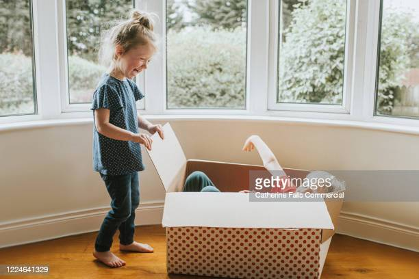 hiding in a box - life events stock pictures, royalty-free photos & images