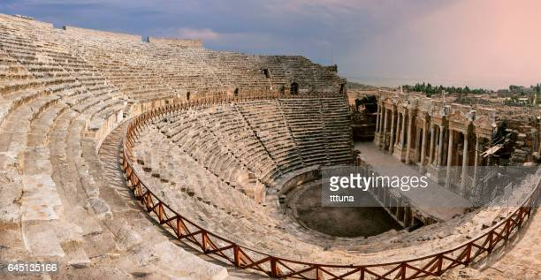 hierapolis amphitheater - amphitheater stock photos and pictures
