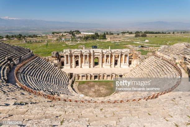 hierapolis, pamukkale, turkey. roman theatre with no people - international landmark stock pictures, royalty-free photos & images