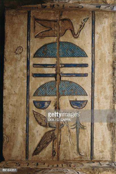 Hieroglyph on ceiling at colonnaded forecourt