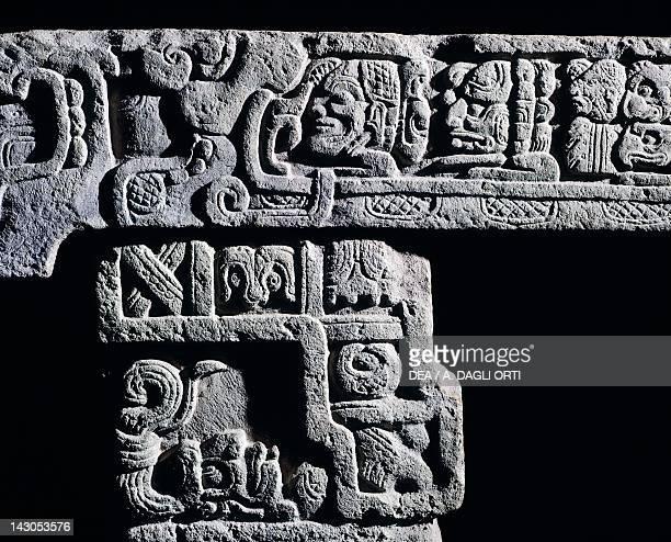 Hieroglyphic bench, in volcanic tuff, originating from Copan . Detail decorations. Mayan Civilization, 750. Tegucigalpa, Galeria Nacional De Arte