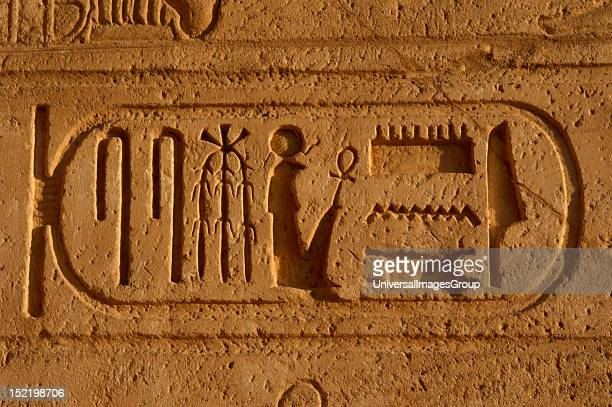 Hieroglyphic writing Royal protocol of Ramses II Fifth title of the Pharaoh son of Ra19th Dynasty New Empire Egypt