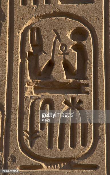 Hieroglyphic writing Royal protocol of Ramses II Fifth title of the Pharaoh son of Ra 19th Dynasty New Empire Egypt