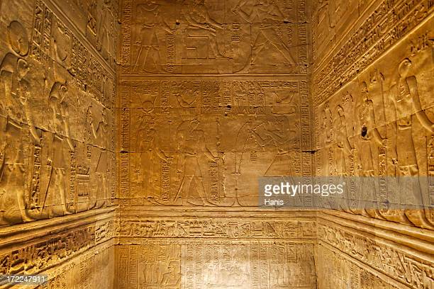 hieroglyphics on ancient chamber walls - egyptian artifacts stock pictures, royalty-free photos & images