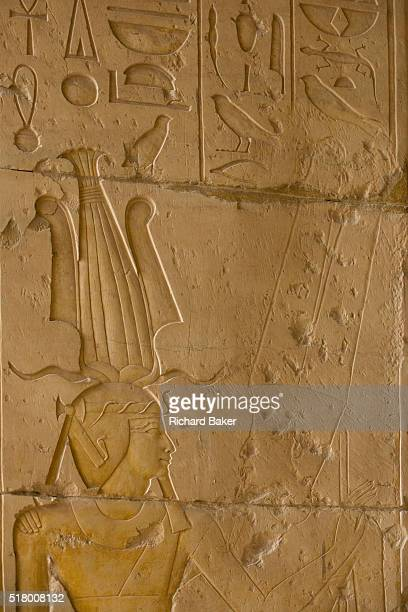 Hieroglyphs on columns at the ancient Egyptian Temple of Hatshepsut near the Valley of the Kings Luxor Nile Valley Egypt The Mortuary Temple of Queen...