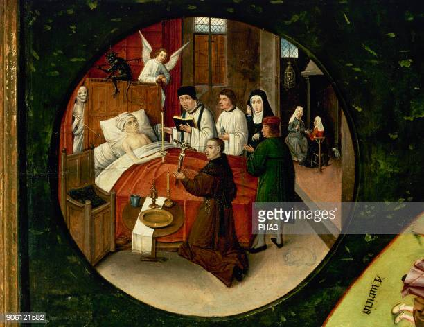 Hieronymus Bosch Dutch painter Table of the Seven Deadly Sins and The Four Last Things 15051510 Detail of a Death of a sinner Prado Museum Madrid...