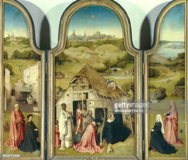 Hieronymus Bosch The Adoration of the Magi Triptych Circa 1494 Grisaille and Oil on oak panel 138 x 138 m Madrid museo del Prado