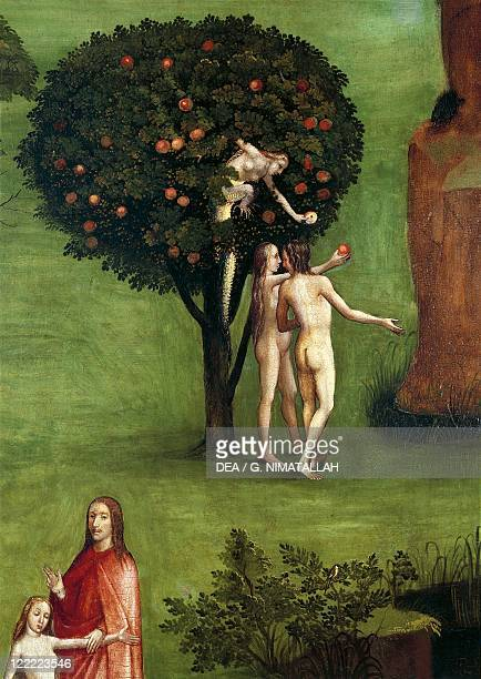 Hieronymus Bosch Triptych of the Judgement central panel The Last Judgement Detail Adam and Eve receiving the Apple from the Snake 1504