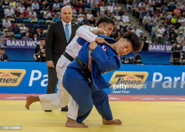 Hifumi Abe of Japan attacks Yerlan Serikzhanov of Kazakhstan eventually throwing him for an ippon to win the u66kg gold medal during day two of the...