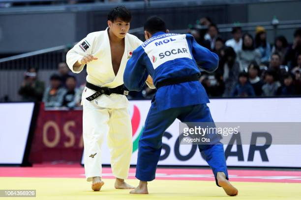 Hifumi Abe of Japan competes against Baskhuu Yondonperenlei of Mongolia in the Men's 66kg semifinal match on day one of the Grand Slam Osaka at...