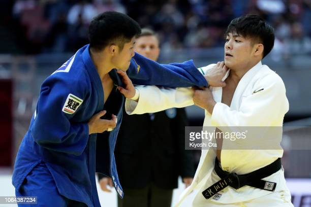 Hifumi Abe of Japan competes against Joshiro Maruyama of Japan in the Men's 66kg final match on day one of the Grand Slam Osaka at Maruzen Intec...