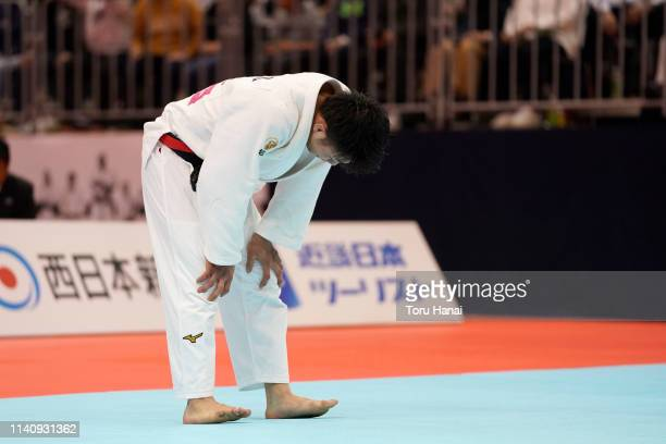 Hifumi Abe reacts after being defeated by Joshiro Maruyama in the Men's 66kg final match during day two of the All Japan Judo Championships By Weight...
