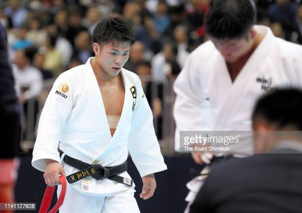 Hifumi Abe reacts after his defeat by Joshiro Maruyama after competing in the Men's 66kg final during day two of the All Japan Judo Championships By...