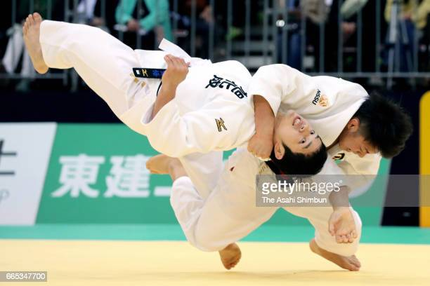 Hifumi Abe throws Kengo Takaichi to win by ippon in the Men's -66kg final during day one of the All Japan Invitational Judo Championships By Weight...