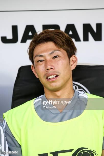 Higashiguchi Masaaki of Japan in action during the AFC Asian Cup Group F match between Japan and Uzbekistsn at Khalifa Bin Zayed Stadium on January...
