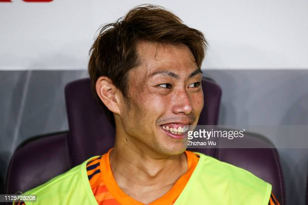 Higashiguchi Masaaki of Japan in action during the AFC Asian Cup semi final match between Iran and Japan at Hazza Bin Zayed Stadium on January 28...