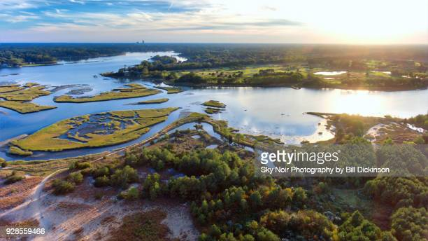 high above lynnhaven inlet - virginia beach, virginia - estuary stock pictures, royalty-free photos & images