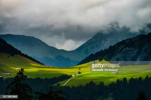 high alps panoramic view. high resolution. - chamonix stock pictures, royalty-free photos & images