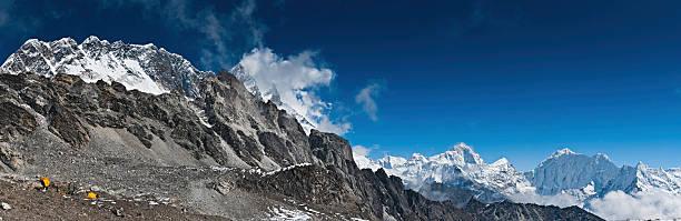 High altitude camp under Nuptse and Lhotse Himalayas Nepal