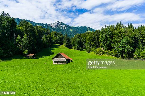 LUNGERN OBWALDEN SWITZERLAND High altitude landscape with some farmers houses mountains forest and green meadows at the bottom of Bruenigpass