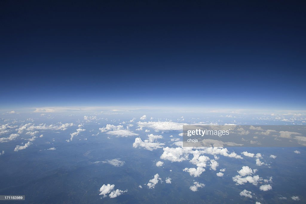 High Altitude View Of The Slight Curvature To Earth Stock