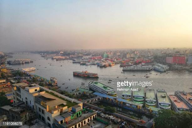 high angel view of a port in dhaka - bangladesh stock pictures, royalty-free photos & images