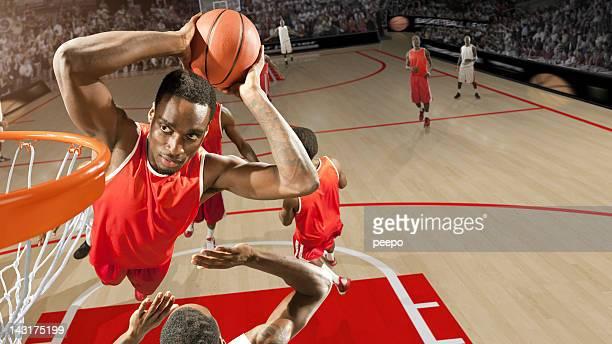 High Angle Basketball Dunk