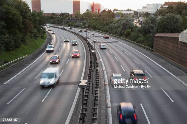 High Angle Blurred Motion Of Vehicles Moving On Highway