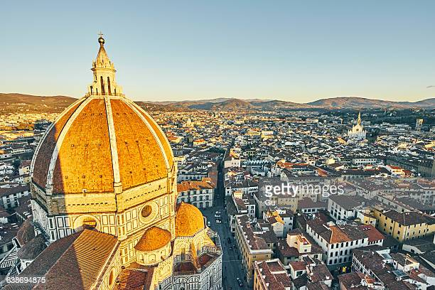 High angle cityscape and dome of Florence Cathedral, Florence, Italy