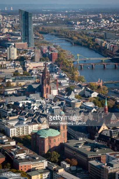 high angle cityscape of frankfurt am main with st. pauls church and european central bank - headquarters stock pictures, royalty-free photos & images