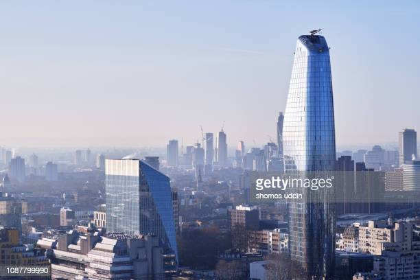 high angle cityscape over south london - air pollution stock pictures, royalty-free photos & images