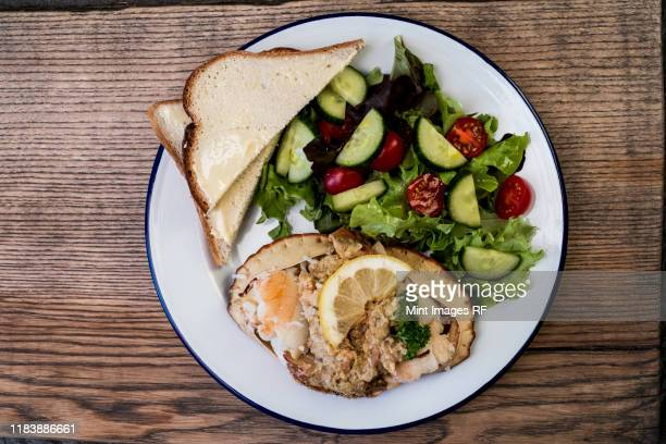 high angle close up of a plate of dressed crab, salad and toast. - crab stock pictures, royalty-free photos & images