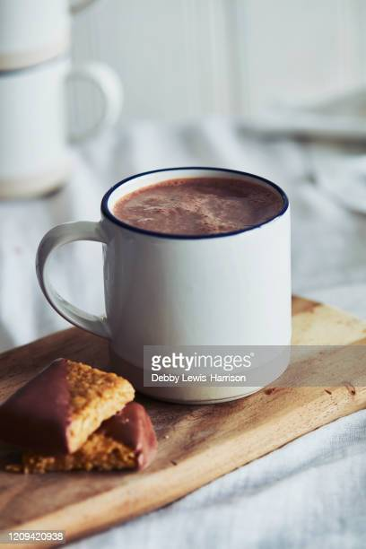 high angle close up of mug of hot chocolate and biscuits. - hot chocolate stock pictures, royalty-free photos & images