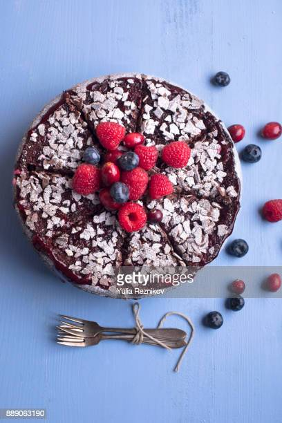 high angle close-up of fruit cake - chocolate cake above stock pictures, royalty-free photos & images