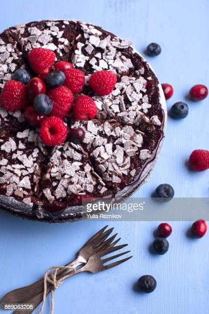 High angle close-up of fruit cake