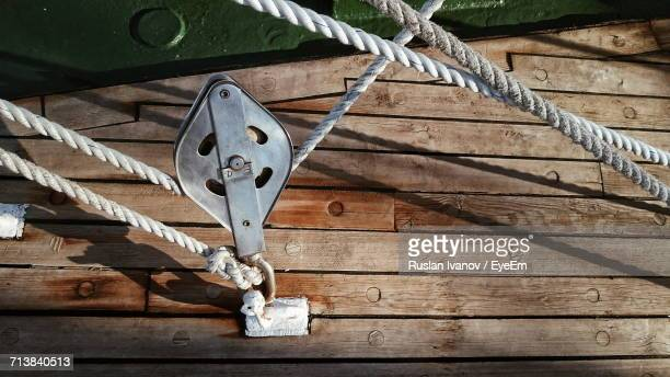 High Angle Close-Up Of Pulley On Boat