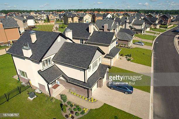 high angle concept drawing of suburban houses - borough district type stock pictures, royalty-free photos & images
