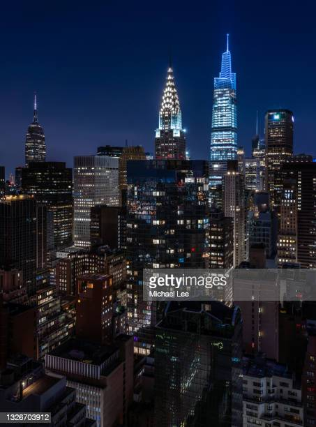 high angle early morning view of midtown manhattan - new york - manhattan new york city stock pictures, royalty-free photos & images