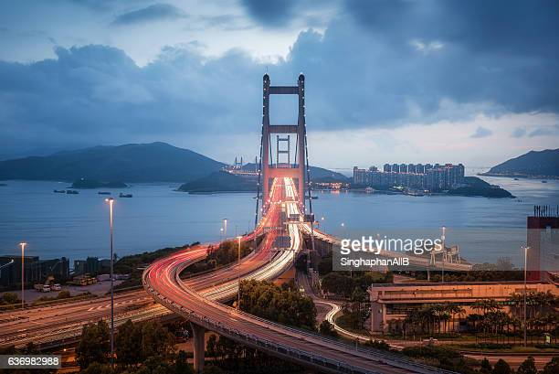 High Angle front direct view Of Hong kong Tsing Ma suspension bridge with sea, sky and mountain behind