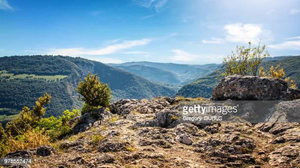 high angle natural point of view on awesome landscape of bugey mountains in ain valley by sunny summer day - hill stock pictures, royalty-free photos & images