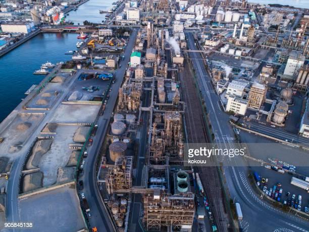 Angle élevé de la zone industrielle.