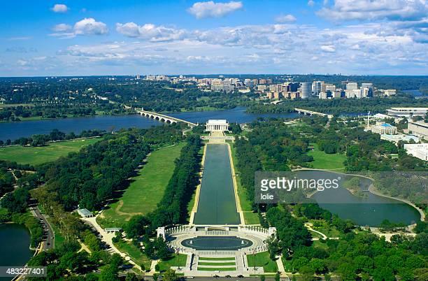 High angle onto Washington DC