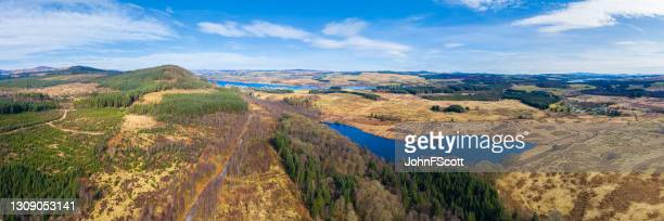 high angle panoramic view of a scottish loch - johnfscott stock pictures, royalty-free photos & images