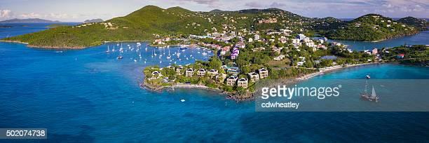 high angle panoramic view of Cruz Bay, St.John, USVI