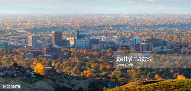 "High angle panoramic view of downtown Boise Idaho, ""City of Trees"", on autumn afternoon"