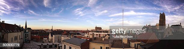 high angle panoramic view of ghent - 東フランダース ストックフォトと画像