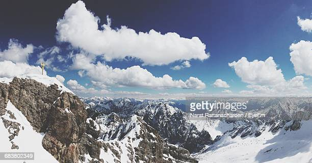 High Angle Panoramic View Of Snowcapped Mountains