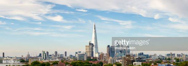 High angle panoramic view over London city skyline