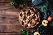 High angle photograph of a lattice fruit pie